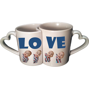CERAMIC PHOTO MUGS VALENTINE SET
